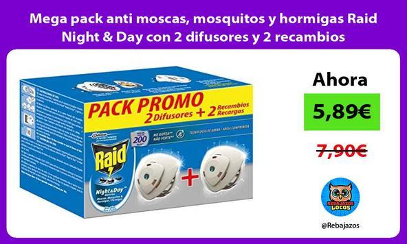 Mega pack anti moscas, mosquitos y hormigas Raid Night & Day con 2 difusores y 2 recambios