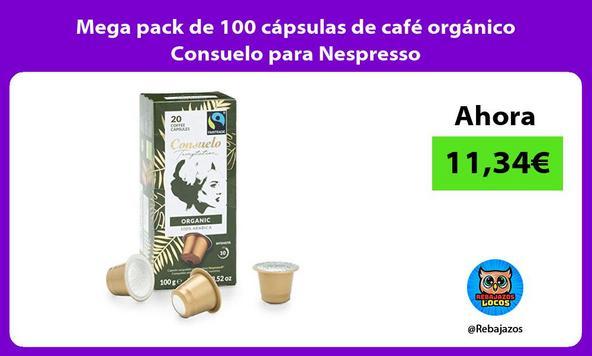 Mega pack de 100 cápsulas de café orgánico Consuelo para Nespresso