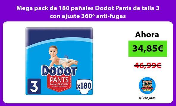 Mega pack de 180 pañales Dodot Pants de talla 3 con ajuste 360º anti-fugas