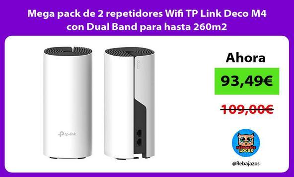 Mega pack de 2 repetidores Wifi TP Link Deco M4 con Dual Band para hasta 260m2
