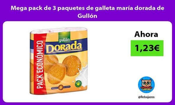 Mega pack de 3 paquetes de galleta maría dorada de Gullón