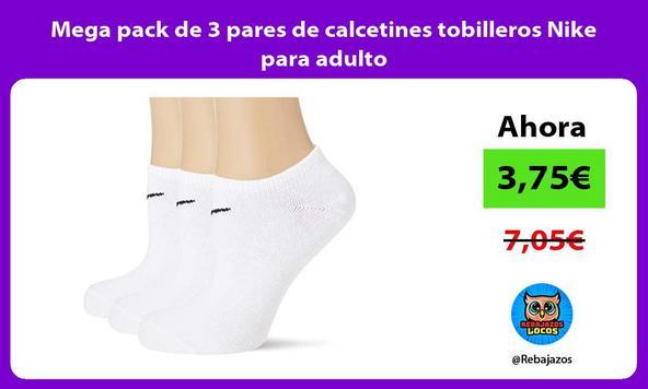 Mega pack de 3 pares de calcetines tobilleros Nike para adulto