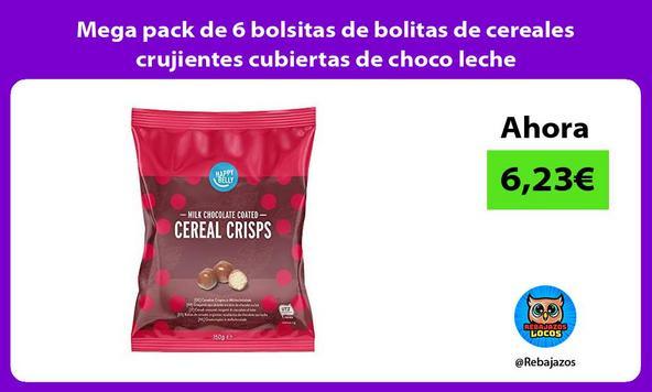 Mega pack de 6 bolsitas de bolitas de cereales crujientes cubiertas de choco leche