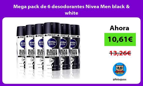 Mega pack de 6 desodorantes Nivea Men black & white