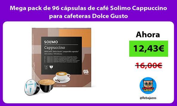 Mega pack de 96 cápsulas de café Solimo Cappuccino para cafeteras Dolce Gusto