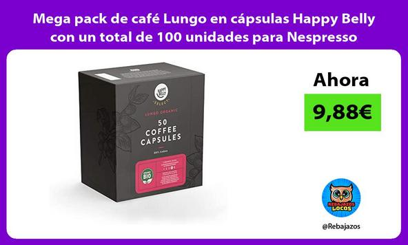 Mega pack de café Lungo en cápsulas Happy Belly con un total de 100 unidades para Nespresso
