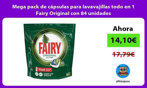 Mega pack de cápsulas para lavavajillas todo en 1 Fairy Original con 84 unidades