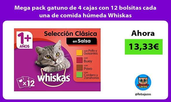 Mega pack gatuno de 4 cajas con 12 bolsitas cada una de comida húmeda Whiskas