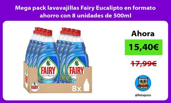 Mega pack lavavajillas Fairy Eucalipto en formato ahorro con 8 unidades de 500ml