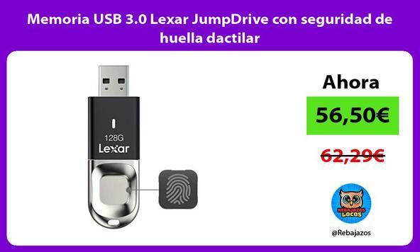 Memoria USB 3.0 Lexar JumpDrive con seguridad de huella dactilar