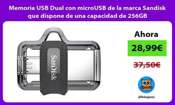 Memoria USB Dual con microUSB de la marca Sandisk que dispone de una capacidad de 256GB