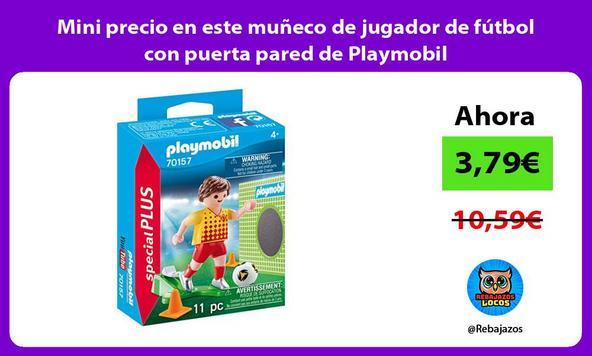 Mini precio en este muñeco de jugador de fútbol con puerta pared de Playmobil