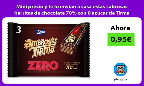 Mini precio y te lo envían a casa estas sabrosas barritas de chocolate 70% con 0 azúcar de Tirma