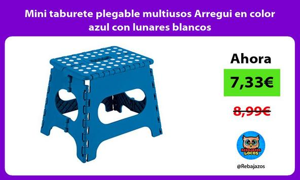 Mini taburete plegable multiusos Arregui en color azul con lunares blancos