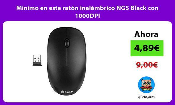 Mínimo en este ratón inalámbrico NGS Black con 1000DPI