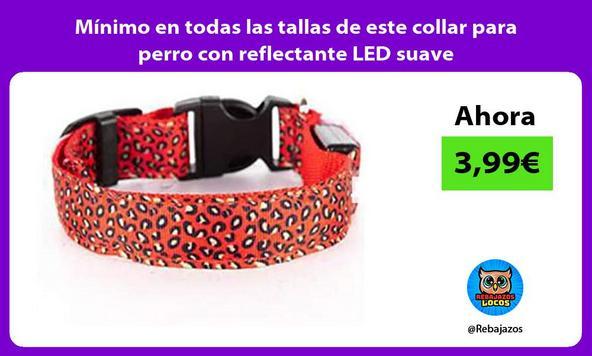 Mínimo en todas las tallas de este collar para perro con reflectante LED suave