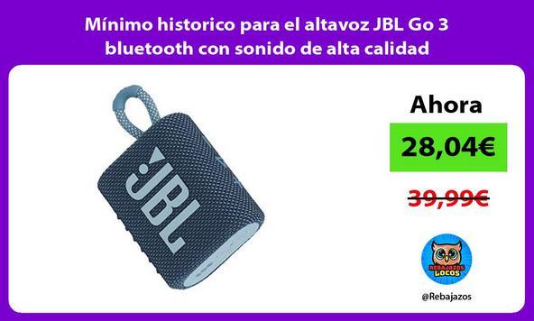 Mínimo historico para el altavoz JBL Go 3 bluetooth con sonido de alta calidad