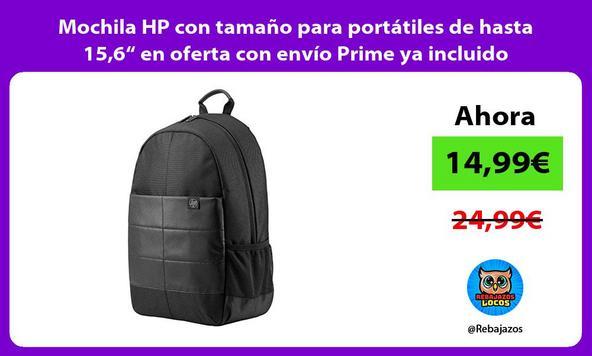 """Mochila HP con tamaño para portátiles de hasta 15,6"""" en oferta con envío Prime ya incluido"""