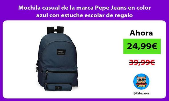 Mochila casual de la marca Pepe Jeans en color azul con estuche escolar de regalo