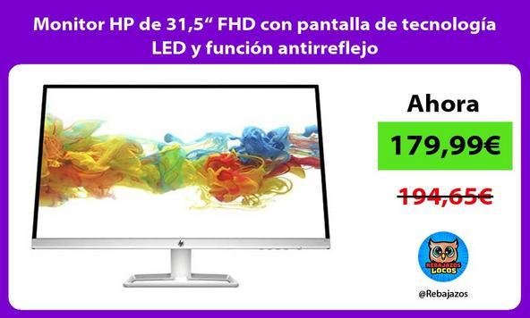 """Monitor HP de 31,5"""" FHD con pantalla de tecnología LED y función antirreflejo"""