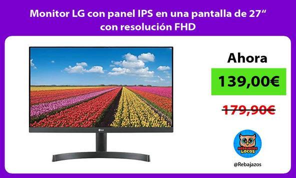 """Monitor LG con panel IPS en una pantalla de 27"""" con resolución FHD"""