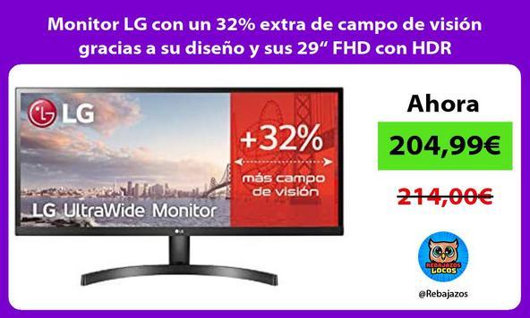 """Monitor LG con un 32% extra de campo de visión gracias a su diseño y sus 29"""" FHD con HDR"""