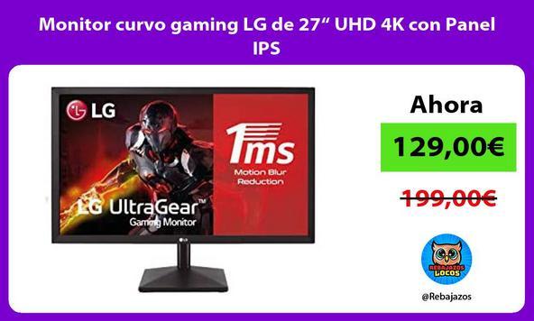 """Monitor curvo gaming LG de 27"""" UHD 4K con Panel IPS"""