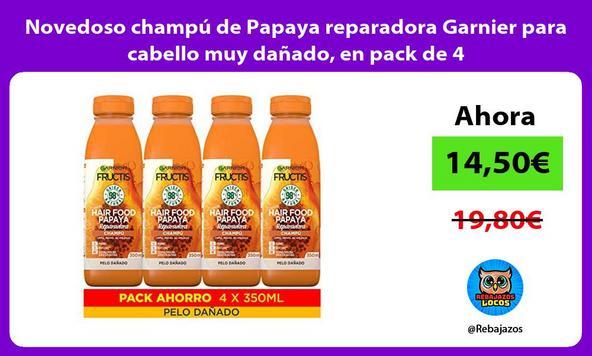Novedoso champú de Papaya reparadora Garnier para cabello muy dañado, en pack de 4