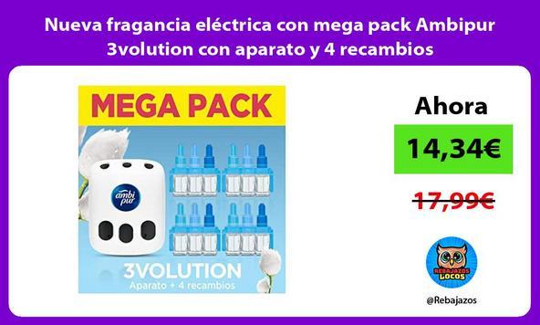 Nueva fragancia eléctrica con mega pack Ambipur 3volution con aparato y 4 recambios