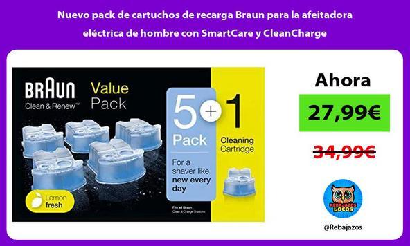 Nuevo pack de cartuchos de recarga Braun para la afeitadora eléctrica de hombre con SmartCare y CleanCharge