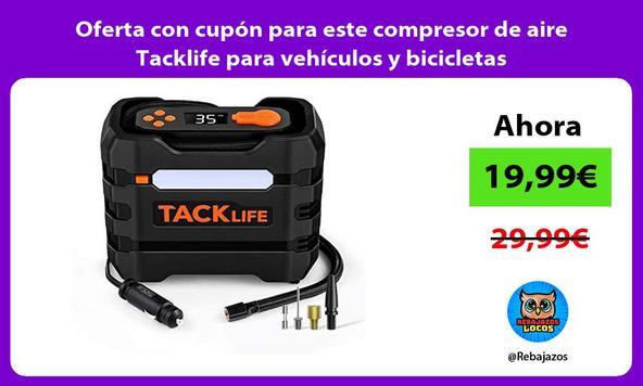 Oferta con cupón para este compresor de aire Tacklife para vehículos y bicicletas
