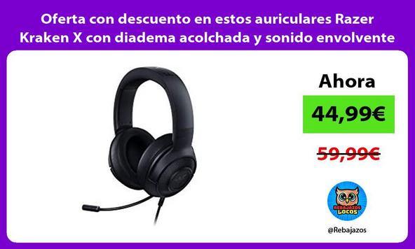 Oferta con descuento en estos auriculares Razer Kraken X con diadema acolchada y sonido envolvente