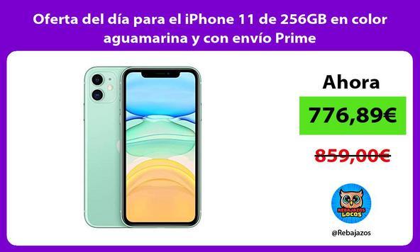 Oferta del día para el iPhone 11 de 256GB en color aguamarina y con envío Prime