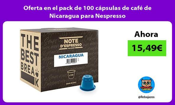Oferta en el pack de 100 cápsulas de café de Nicaragua para Nespresso