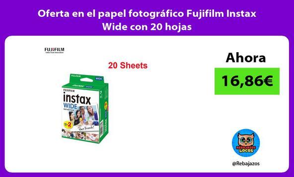Oferta en el papel fotográfico Fujifilm Instax Wide con 20 hojas