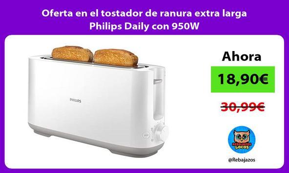 Oferta en el tostador de ranura extra larga Philips Daily con 950W