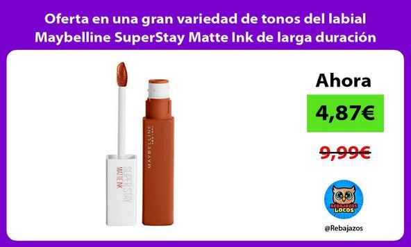 Oferta en una gran variedad de tonos del labial Maybelline SuperStay Matte Ink de larga duración