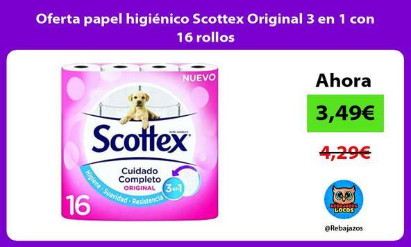 Oferta papel higiénico Scottex Original 3 en 1 con 16 rollos