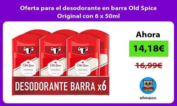 Oferta para el desodorante en barra Old Spice Original con 6 x 50ml