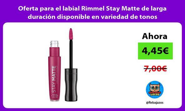 Oferta para el labial Rimmel Stay Matte de larga duración disponible en variedad de tonos