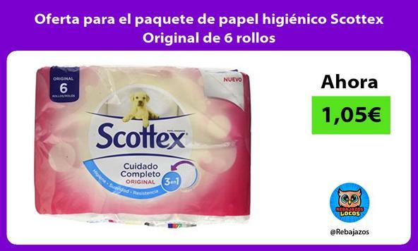 Oferta para el paquete de papel higiénico Scottex Original de 6 rollos