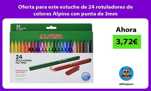 Oferta para este estuche de 24 rotuladores de colores Alpino con punta de 3mm