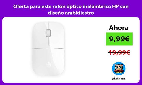 Oferta para este ratón óptico inalámbrico HP con diseño ambidiestro