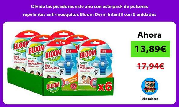 Olvida las picaduras este año con este pack de pulseras repelentes anti-mosquitos Bloom Derm Infantil con 6 unidades
