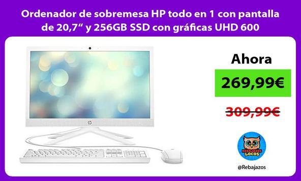 """Ordenador de sobremesa HP todo en 1 con pantalla de 20,7"""" y 256GB SSD con gráficas UHD 600"""