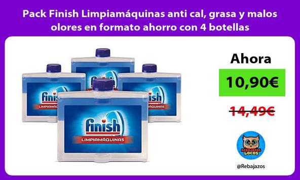 Pack Finish Limpiamáquinas anti cal, grasa y malos olores en formato ahorro con 4 botellas