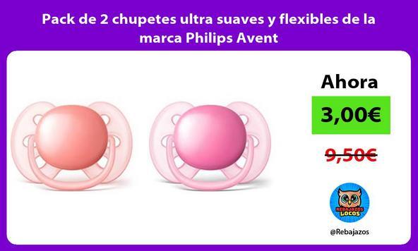 Pack de 2 chupetes ultra suaves y flexibles de la marca Philips Avent