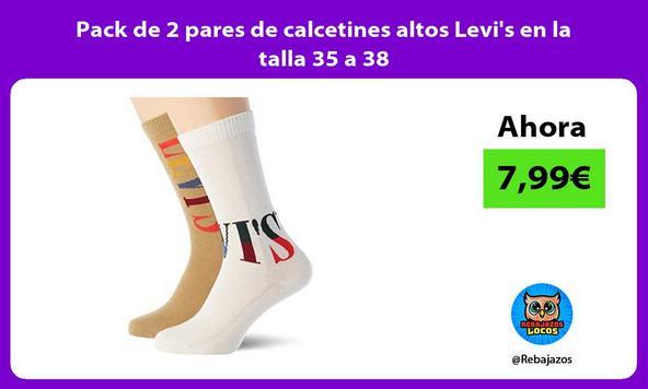 Pack de 2 pares de calcetines altos Levi's en la talla 35 a 38