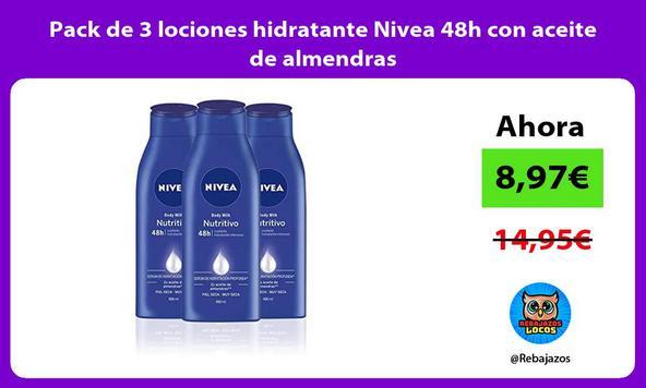 Pack de 3 lociones hidratante Nivea 48h con aceite de almendras