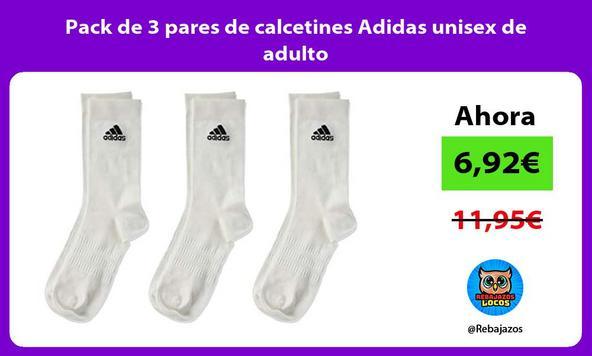 Pack de 3 pares de calcetines Adidas unisex de adulto